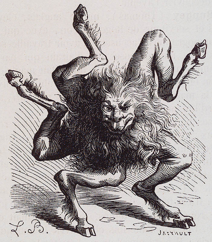 Buer, a demon of the second class, from J.A.S. Collin de Plancy, Dictionnaire Infernal, Paris, 1863. He teaches philosophy, logic and the virtues of medicinal herbs. Also, he's good at fight sequences in various action movies.